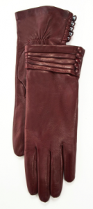 Alicia Leather glove with pleated/ buttoned cuff €144.95