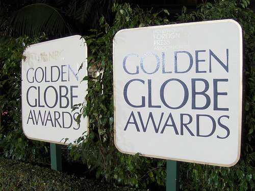 An image of the red carpet and signs at the 2015 Golden Globes
