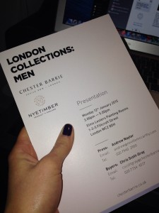 Chester Barrie at London Collections: Men invite